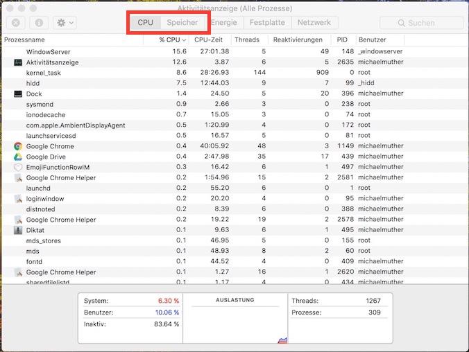 Aktivitätsanzeige Mac