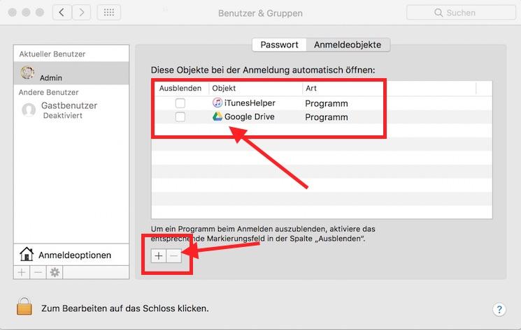Mac Anmeldeobjekte entfernen