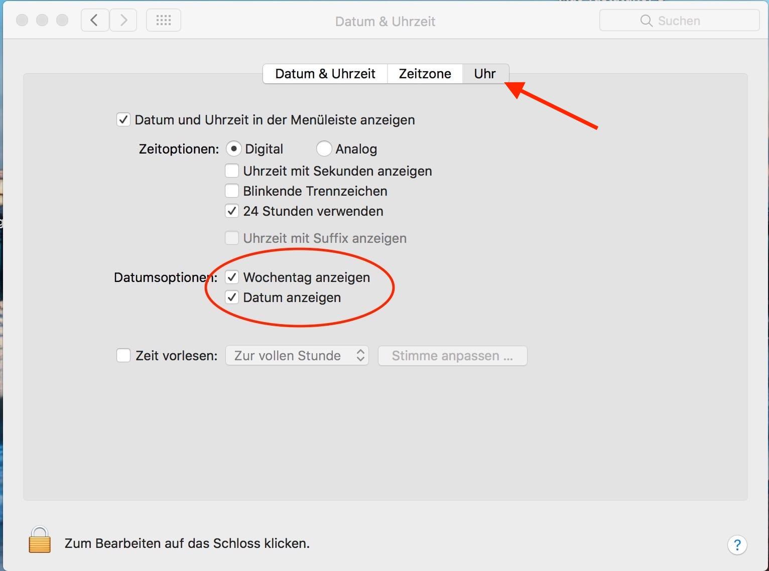Ganzes Datum in Mac-Menüleiste anzeigen