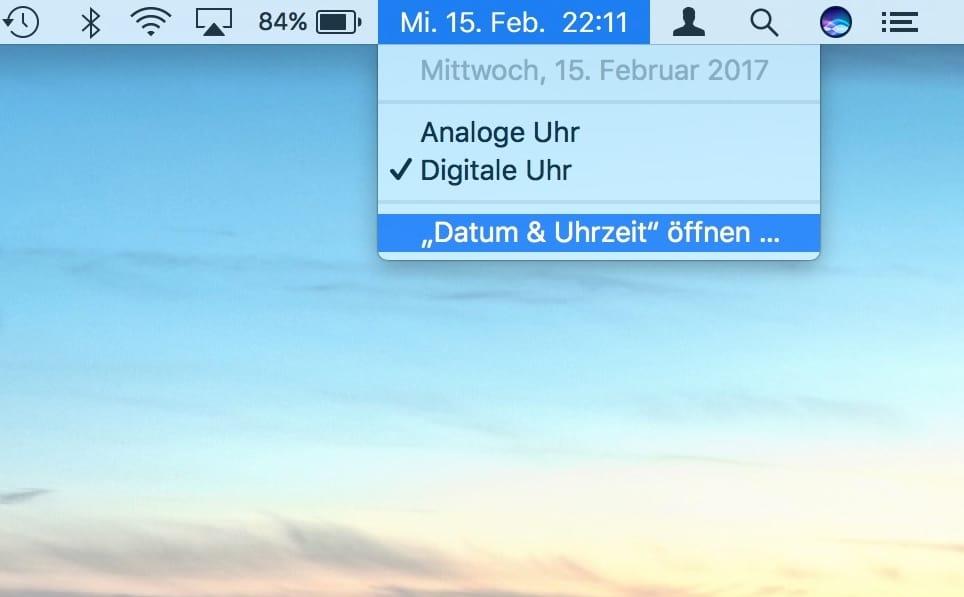Ganzes Datum in Mac Menuleiste anzeigen