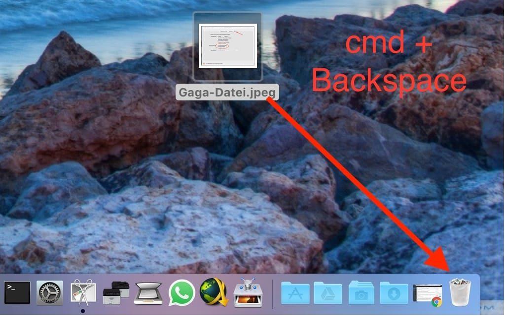 Mac Datei löschen Tastenkombination
