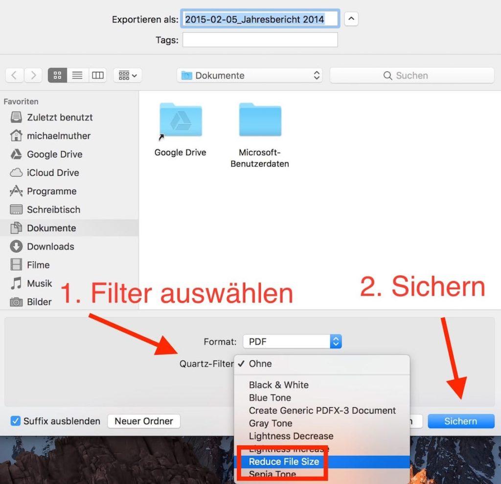 MacOS PDF verkleinern (mit Bordmitteln)