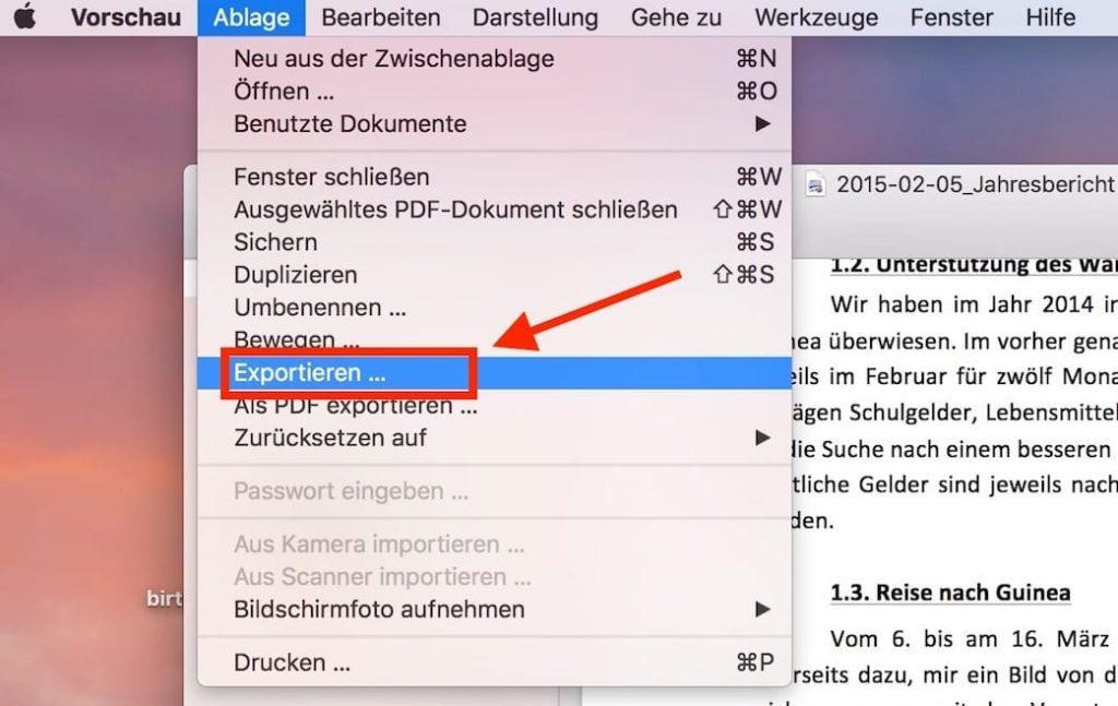 Mac PDF Exportieren
