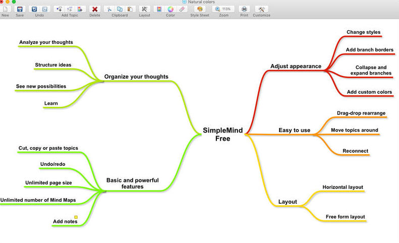 SimpleMind Free Mindmap Freeware Mac
